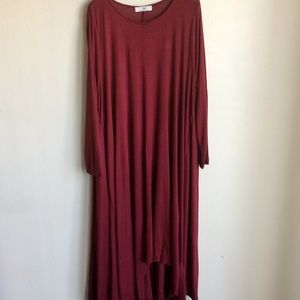 by Amelia Martin Dresses - Red Dress Hi Low Long Sleeve XXL Amelia Martin